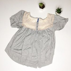 Free People XS Gray Lace Flowy Knit Top Blouse